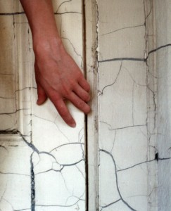 Hand on wall